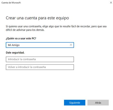 Crear cuenta Windows 10