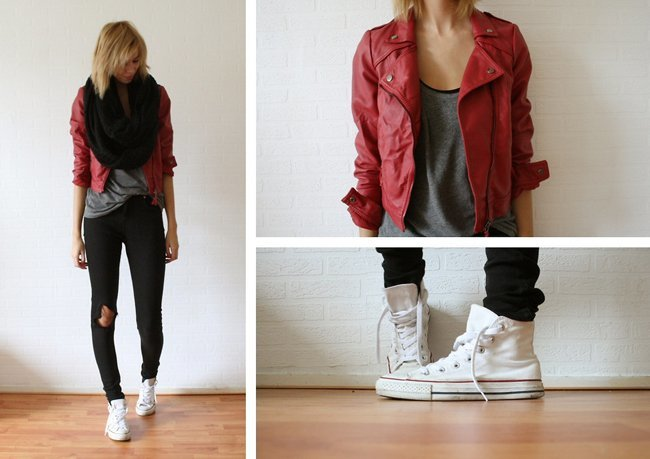 Rojo cuero Siestke Moda en la calle