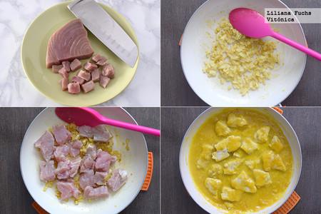 Atún en salsa de mango al curry. Pasos
