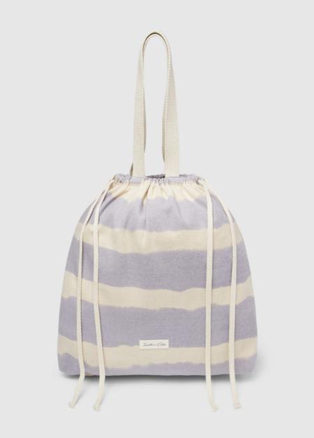 Shopping de playa Southern Cotton de algodón con print a rayas en azul y natural