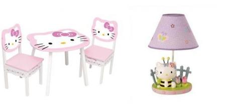 mesa sillas y lámpara de Hello Kitty