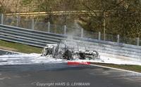El Audi R8 V10 de pruebas en Nürburgring acaba envuelto en llamas