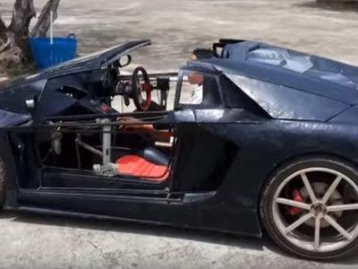 ¿Un mini Lamborghini Aventador casero con el motor de una motocicleta? Por qué no