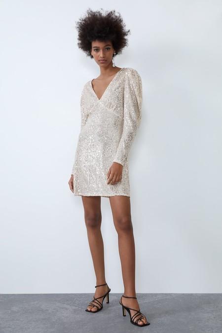 Vestido Plateado Zara 1