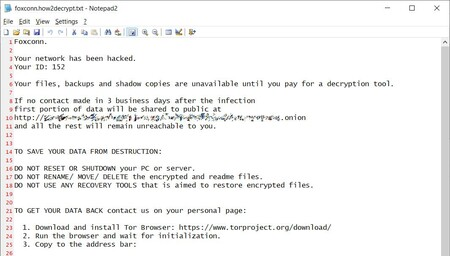 Ransomware Note Foxconn