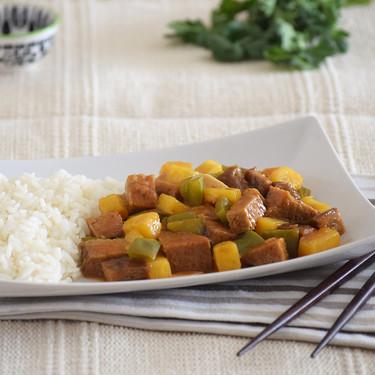 Seitán agridulce con piña: receta vegana al estilo chino
