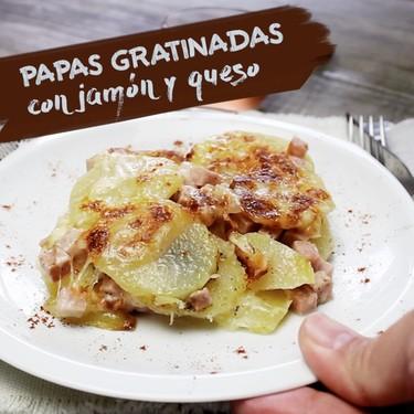 Papas gratinadas con jamón y queso. Receta en video