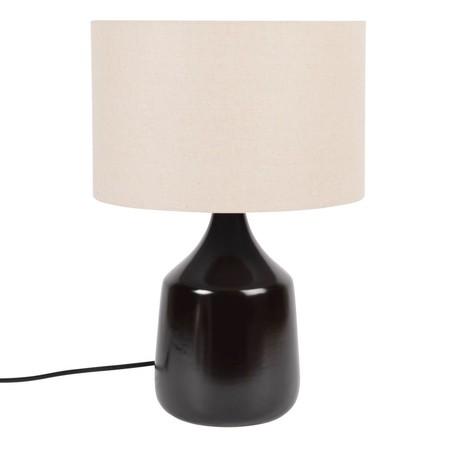 Lámpara de cerámica con pantalla de lino