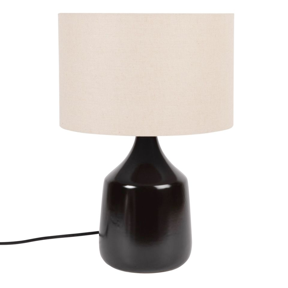 Lámpara de cerámica negra con pantalla de lino