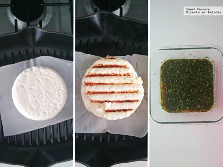 Queso panela asado con salsa de soya. Receta de Aperitivo