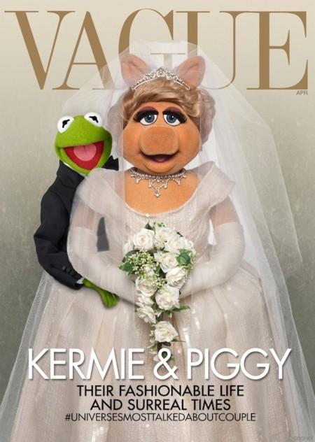 Kanye y Kim convertidos en Kermie y Piggy. La portada de Vogue que más da que hablar