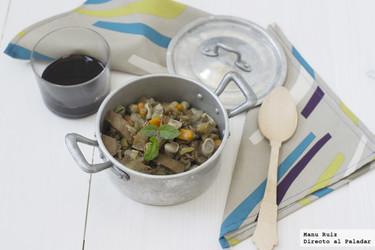 Cocina de berenjenas y habas. Receta
