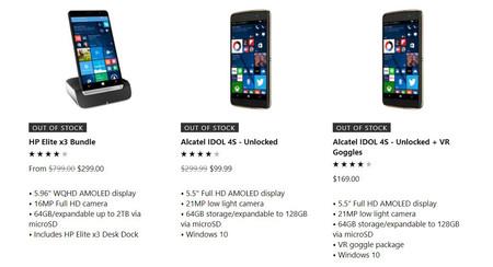 Teléfonos Windows 10 Mobile agotados EEUU
