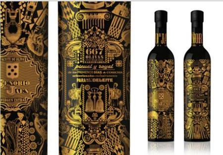Aceite de oliva Señorio de Jaén, vestido de oro