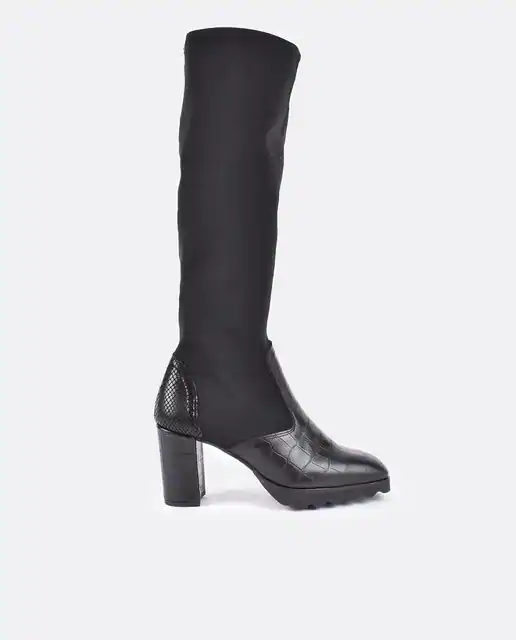 Botas en negro con puntera y talonera animal print