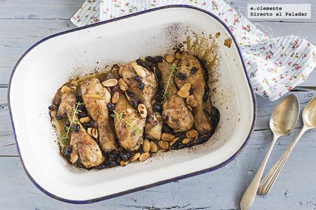 Pollo al horno con comino, pasas y almendras. Receta