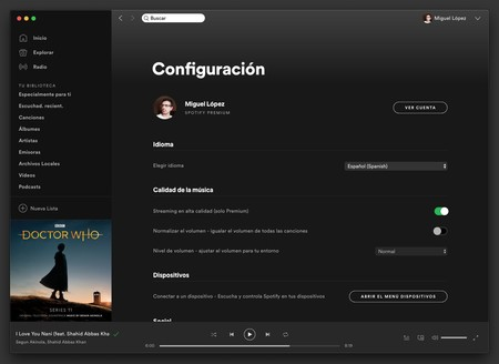 Spotify Preferencias Mac