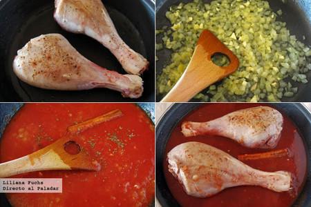 Muslos de pavo en salsa de tomate y canela. Pasos