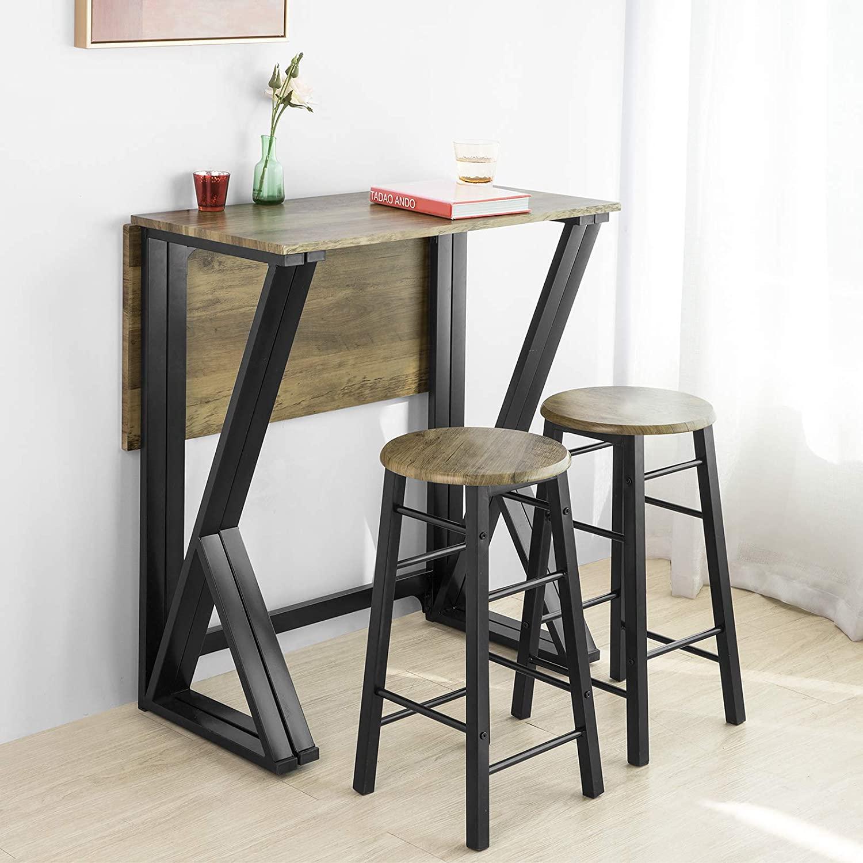SoBuy OGT24-N Set Mesa Alta Plegable y 4 Taburetes Desayuno Muebles Bar Comedor