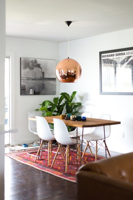 Kilim Beautiful Dining Wood Table With White Chair And Charming Lamp