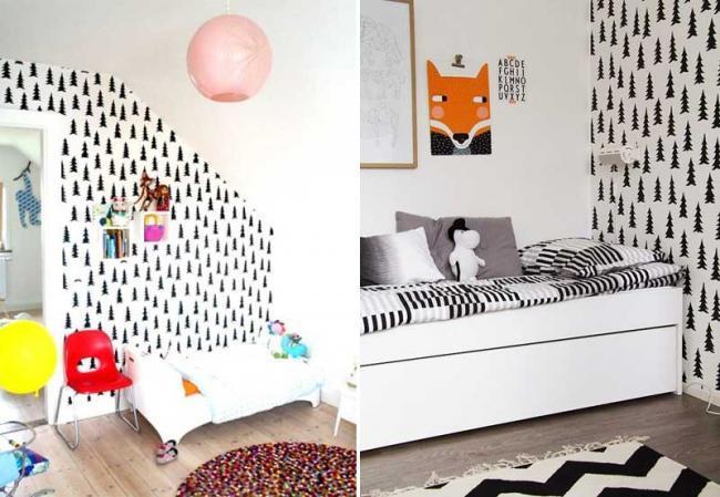 Estampados gr ficos en blanco y negro para decorar el - Como decorar una pared blanca ...