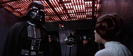 Vader a punto de torturar a Leia