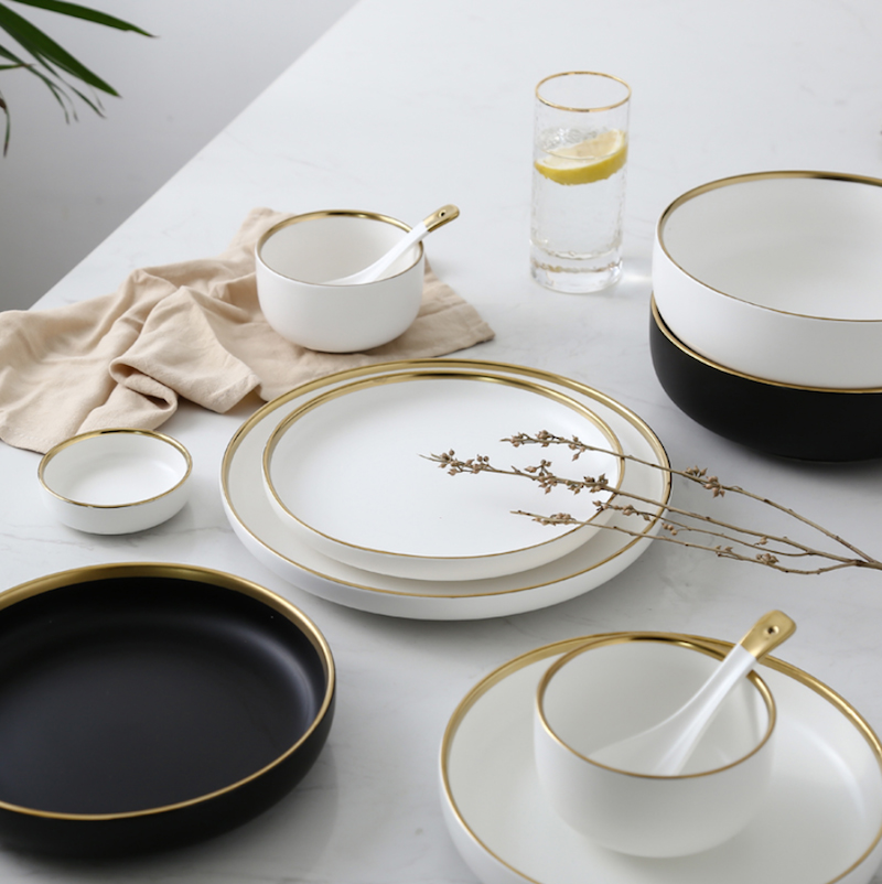 Blanco y Negro redondo dorado trazo de cerámica plato de cena conjunto de porcelana carne vajilla Bol para arroz o sopa cuchara plato decoración del hogar