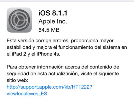 Apple libera la actualización a iOS 8.1.1