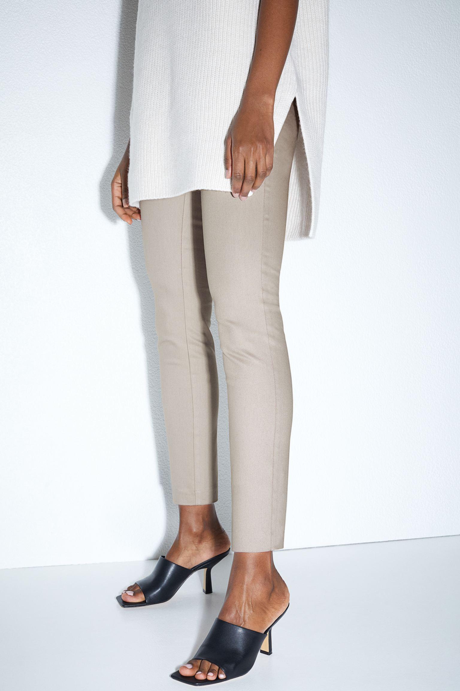 Pantalón skinny de sarga con tejido y cintura superelástica