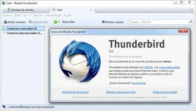 Thunderbird 15 disponible con soporte nativo para mensajería instantánea