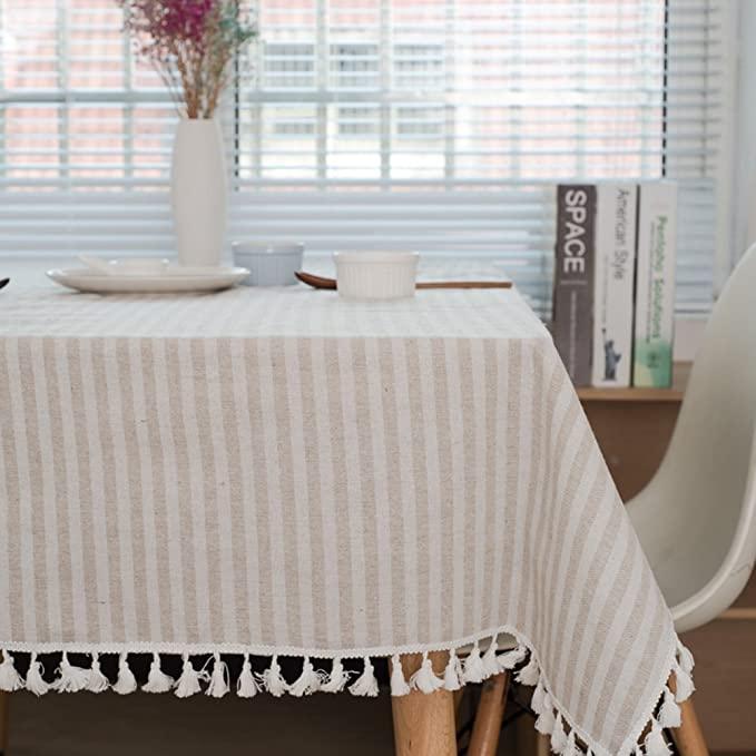meioro Manteles Rectangular Mantel Antimanchas Mantel para Mesa de Lino Striped Tassel Tablecloth La decoración del hogar es Adecuada(Albaricoque / Rayas Blancas, 120×160cm)