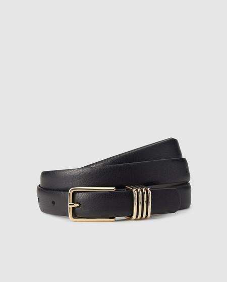 Cinturón de mujer El Corte Inglés de piel en negro con triple pasador