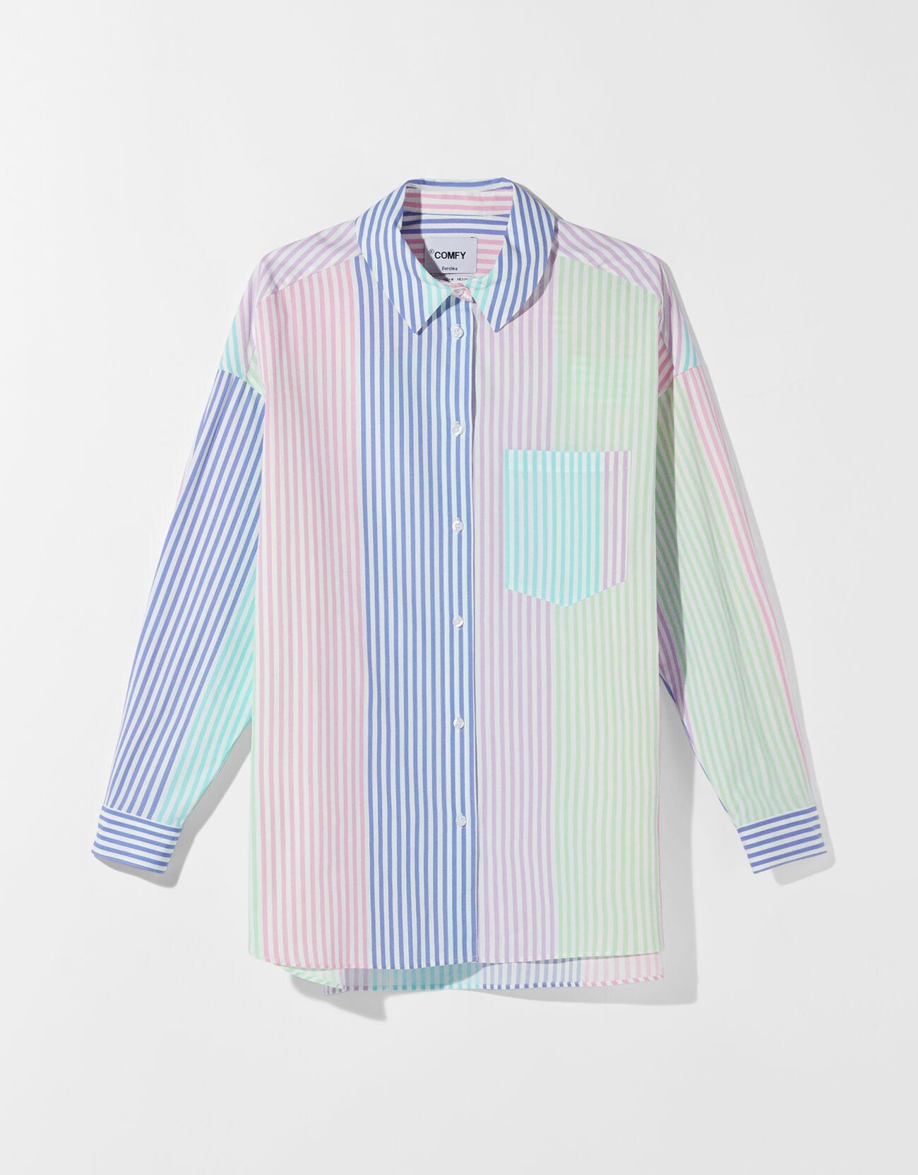 Camisa oversize popelín multicolor.