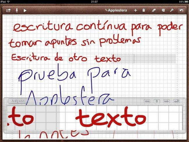 Introducción de texto contínuo en Notes Plus