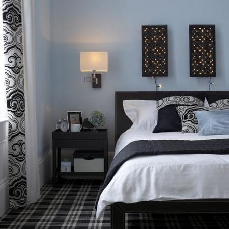 Azul, negro y blanco. ¿Dormitorio masculino?