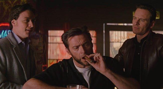 James McAvoy, Hugh Jackman y Michael Fassbender en X-Men: Primera Generación