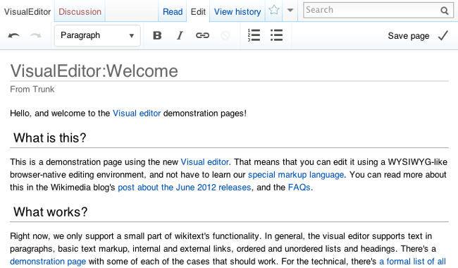 Prototipo del nuevo editor visual de Wikimedia
