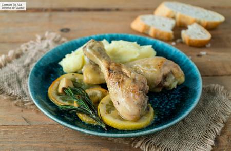 Jamoncitos o muslos de pollo con limón y romero, receta súper fácil y rápida (con vídeo incluido)