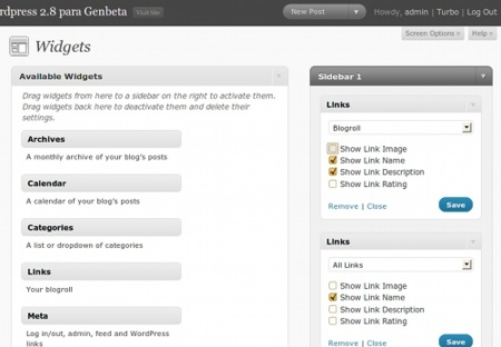 Wordpress 2.8 - Widgets