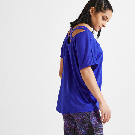 Camiseta Mujer Manga Corta Fitness Cardio Training Azul