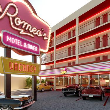 Romeo's Motel & Dinner. Un hotel de Ibiza que se inspira en los moteles de carretera norteamericanos diseñado por Ilmio Design