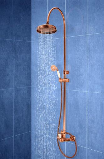 Columna de ducha monomando HUBER Oxford naranja/cobre