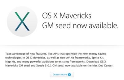 Apple lanza la versión Golden Master de OS X Mavericks
