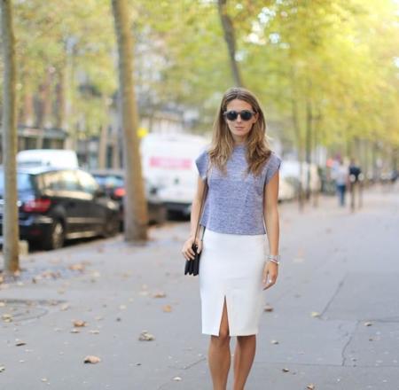 Clochet Mango Premium Silver Top White Pencil Skirt 1