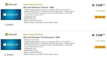 ¿Serán estos los precios de las licencias OEM de Windows 10?