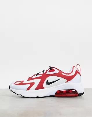 Zapatillas de deporte blancas, negras y rojas Air Max 200 de Nike