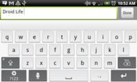 El teclado virtual del Motorola Droid X para otros teléfonos Android 2.1