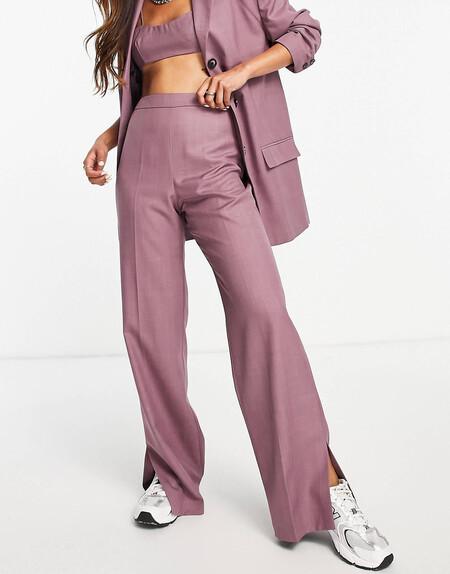 Pantalones De Sastre Violetas Con Diseno Minimalista De Topshop