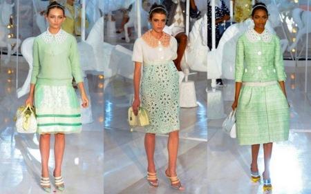Vestido verde agua y blanco