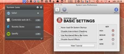 System Lens, monitoriza la carga de CPU desde la barra de menú de Finder